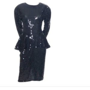 Oleg Cassini Vintage Black Sequin Peplum Dress